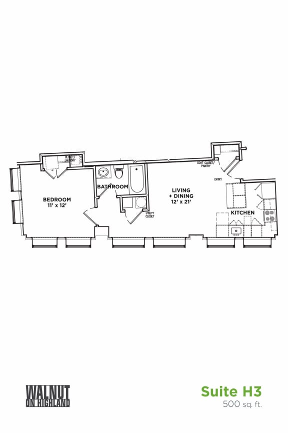 Floor Plan  Floor Plan1 BR 1 Bath Suite H3 (Highland Building), Walnut on Highland in East End Pittsburgh, PA