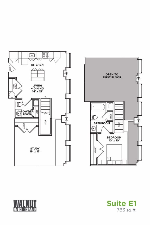 Floor Plan  Floor Plan1.5 BR 1.5 Bath Suite E Loft (Highland Building), Walnut on Highland in East Liberty Neighborhood of Pittsburgh