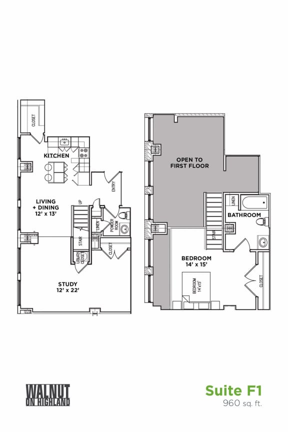 Floor Plan  1.5 BR 1.5 Baths Suite F Loft (Highland Building)	Bed/Bath, Walnut on Highland in East Liberty Neighborhood of Pittsburgh