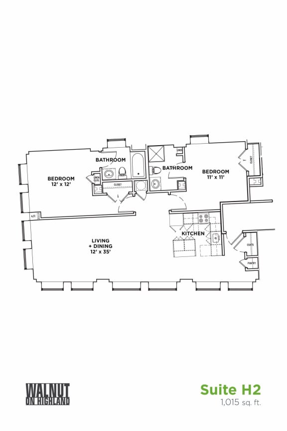 Floor Plan  Floor Plan2 BR 1 Bath Suite H2 (Highland Building)Bed/Bath, Walnut on Highland in East Liberty Neighborhood of Pittsburgh, opens a dialog