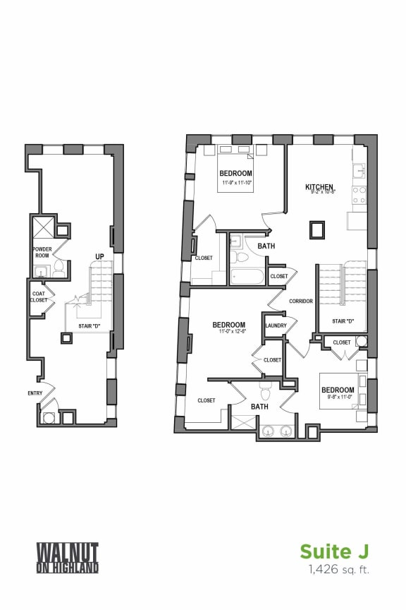 Floor Plan  3 BR 2.5 Bath Suite J (Highland Building), Walnut on Highland in East Liberty Neighborhood of Pittsburgh