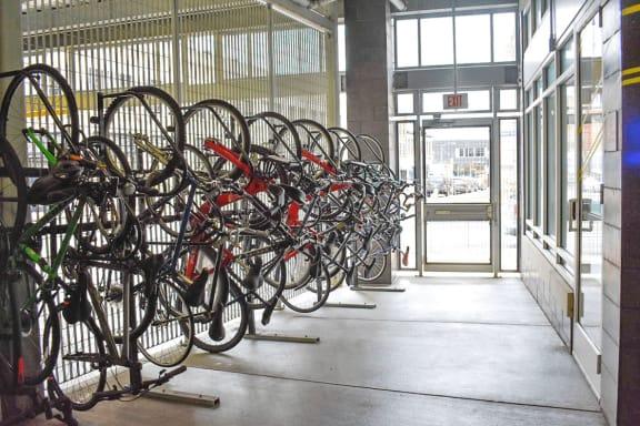 Bike Storage, Walnut on Highland in East Liberty Neighborhood of Pittsburgh