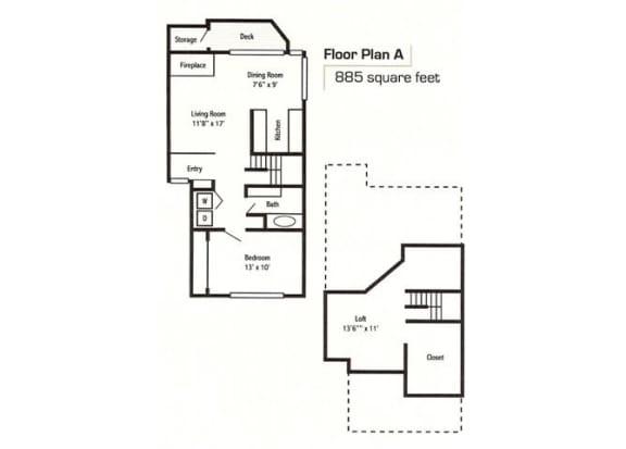 1 Bed 1 Bath Floor Plan at Sorrento Bluff, Beaverton