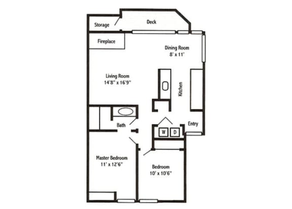 2 Bed 1 Bath Floor Plan at Sorrento Bluff, Beaverton,Oregon