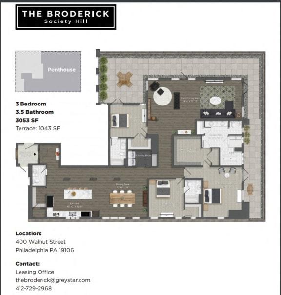 Penthouse 3 Bed/3.5 Bath