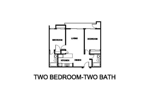 Two Bedroom Two Bath Floor plan at Renaissance Terrace, Long Beach, CA