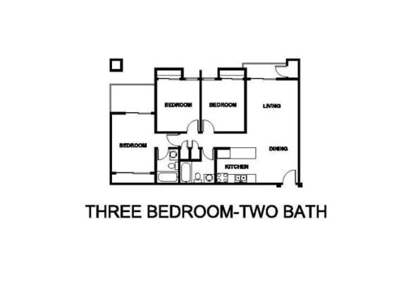Two Bedroom Two Bath Floor plan at Renaissance Terrace, Long Beach, 90813
