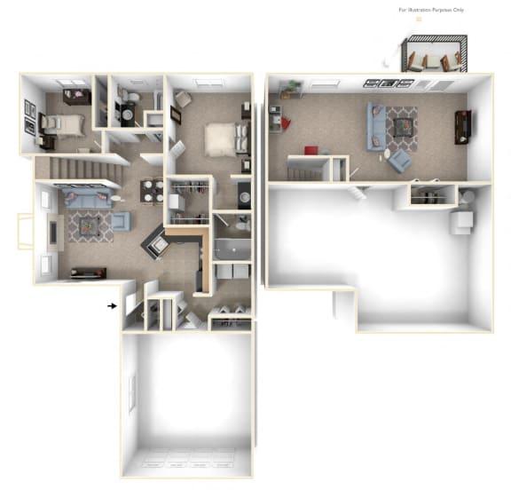Two Bedroom Ranch Floor Plan at Lynbrook Apartment Homes and Townhomes, Elkhorn, Nebraska