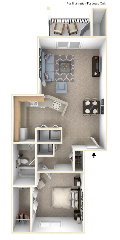 Traditional One Bedroom One Bath Floorplan at Foxwood and The Hermitage, Portage, MI, 49024