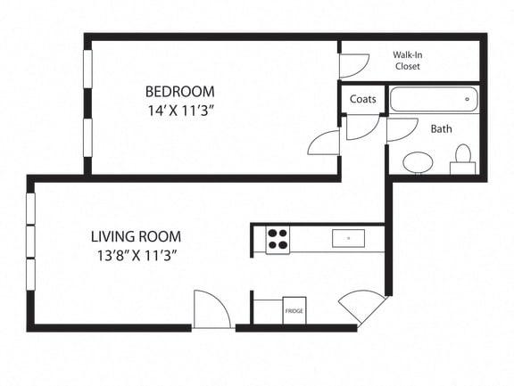 Floor Plan  one-bedroom-junior-size-stoughton-apartments