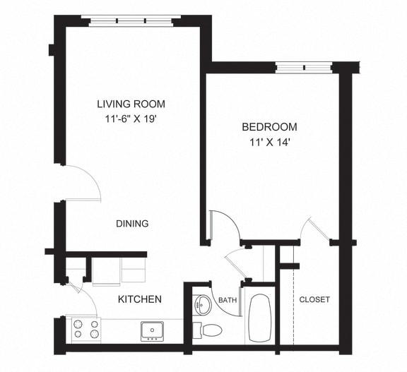 Floor Plan  oxford one bedroom apartment