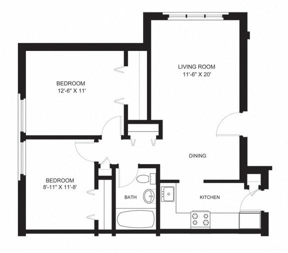 Floor Plan  oxford two bedroom apartment rental