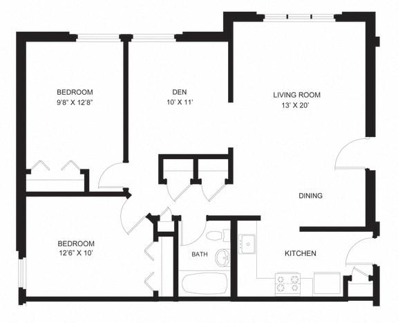 Floor Plan  two bed one bath den oxford