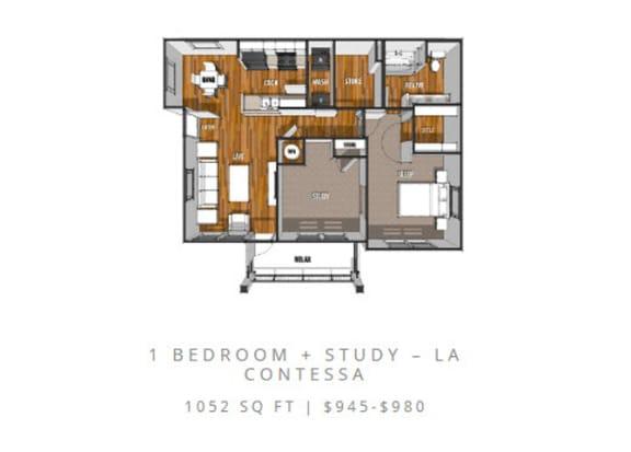 Floor Plan  Floor Plan at La Contessa Luxury Apartments, Laredo, 78045