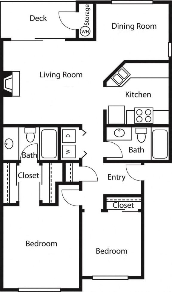 2x2 2 – 2 Bedroom 2 Bath Floor Plan Layout – 1026 Square Feet