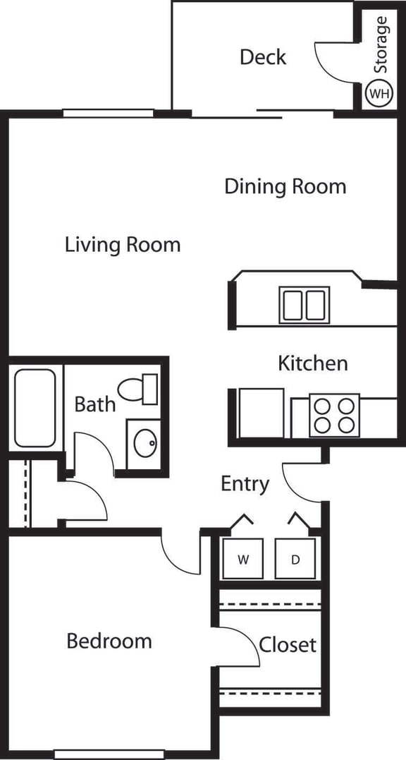 1x1 – 1 Bedroom 1 Bath Floor Plan Layout – 761 Square Feet