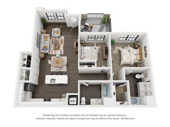 Floor Plan  2 Bedroom Luxury Apartment 3D Floorplan at Tempranillo Apartment Homes