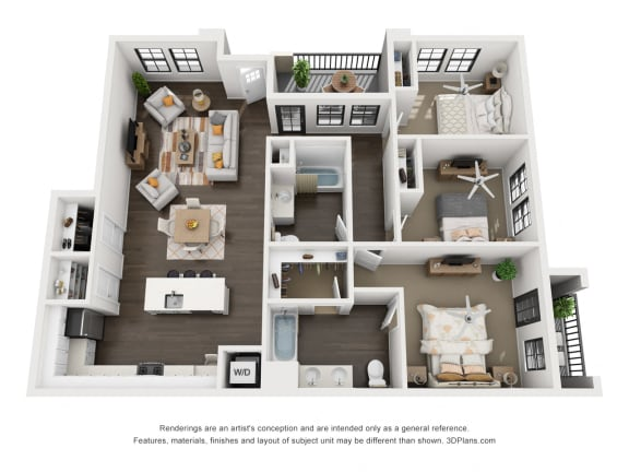 Floor Plan  3 Bedroom Luxury Apartment 3D Floorplan at Tempranillo Apartment Homes
