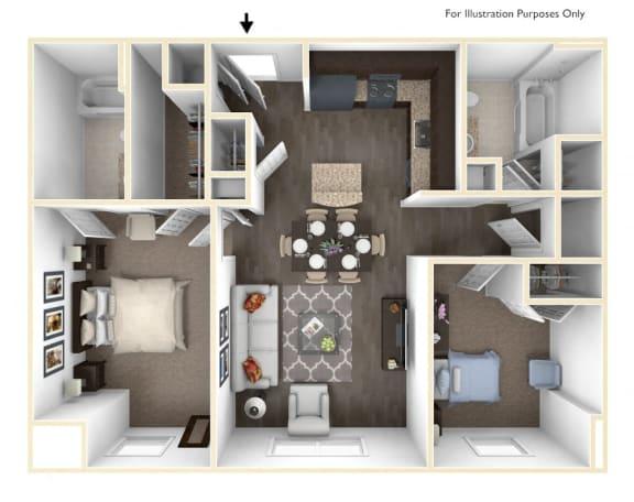 Floor Plan  Merritt Station 2 Bedroom Gunpowder 3D Floor Plan, opens a dialog