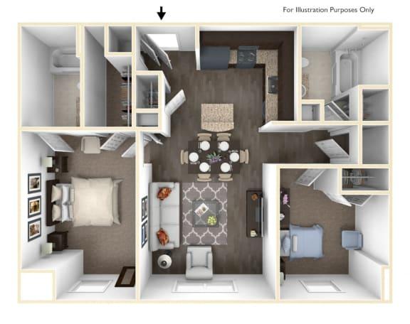 Floor Plan  Merritt Station 2 Bedroom Seneca 3D Floor Plan, opens a dialog