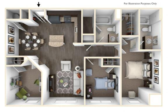 Floor Plan  Merritt Station 3 Bedroom Potomac 3D Floor Plan, opens a dialog