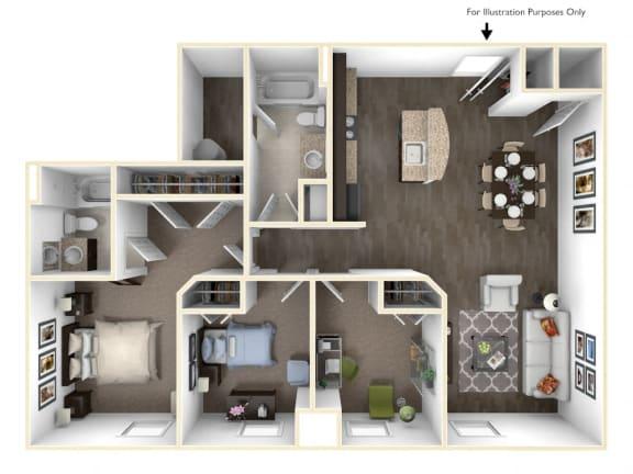 Floor Plan  Merritt Station 3 Bedroom Patapsco 3D Floor Plan, opens a dialog