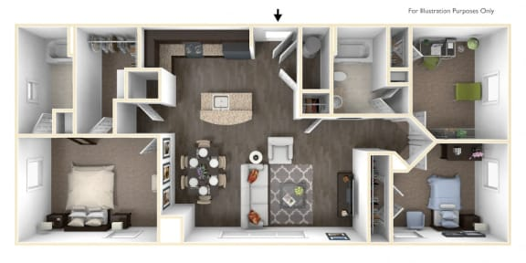 Floor Plan  Merritt Station 3 Bedroom Chesapeake 3D Floor Plan, opens a dialog