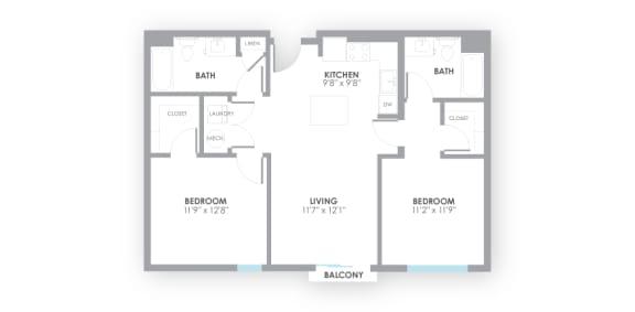 Circuit Floor Plan at AMP Apartments, Kentucky, 40206