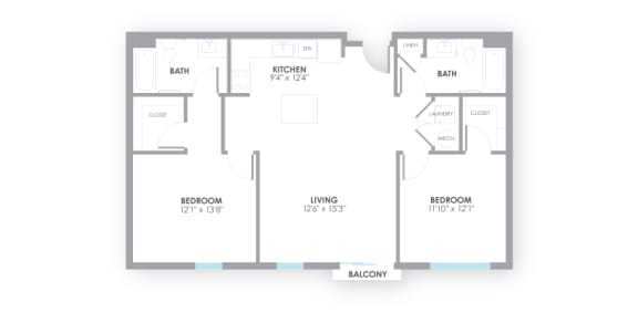 Spacious  Circuit2 Floor Plan at AMP Apartments, Louisville