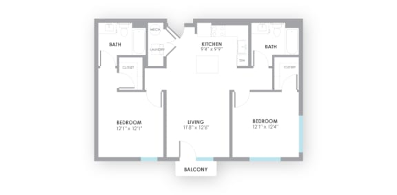 Fuse2 Floor Plan at AMP Apartments, Louisville, 40206