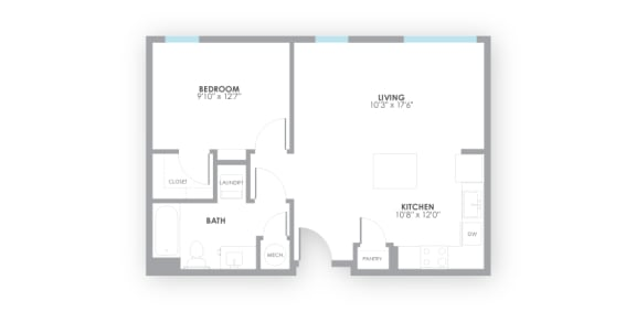 Relay2 Floor Plan at AMP Apartments, Louisville, KY, 40206