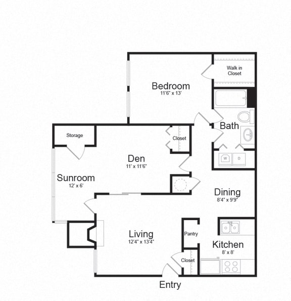 Floor Plan  Two Bed One Bath Floor plan at The Hamilton at Kings Place, Columbia, Maryland