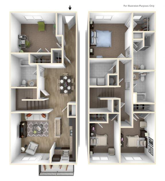 Floor Plan  Towns at Woodfield 4 Bedroom, 3 Bathroom 3D Floor Plan