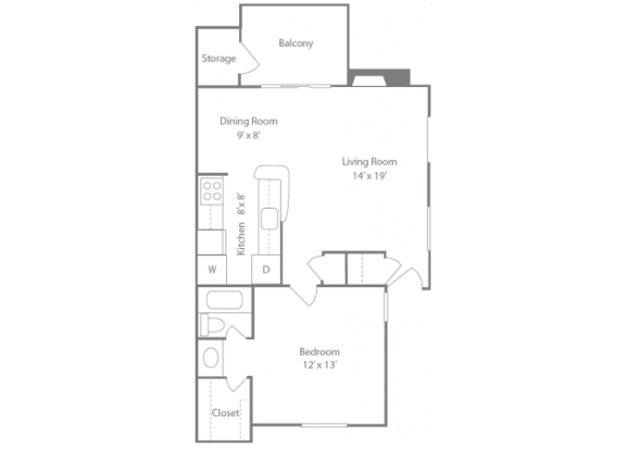 Brighton Floorplan 1 Bedroom 1 Bath 728 Total Sq Ft at The Edge of Germantown Apartments Home, Memphis, TN 38120