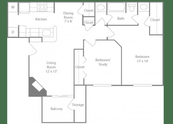 Newbury Floorplan 2 Bedroom 1 Bath 841 Total Sq Ft at The Edge of Germantown Apartments Home, Memphis, TN 38120