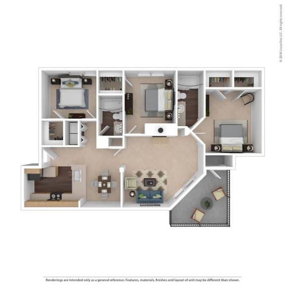 The Kingston Floor Plan at Beacon Ridge Apartments, South Carolina