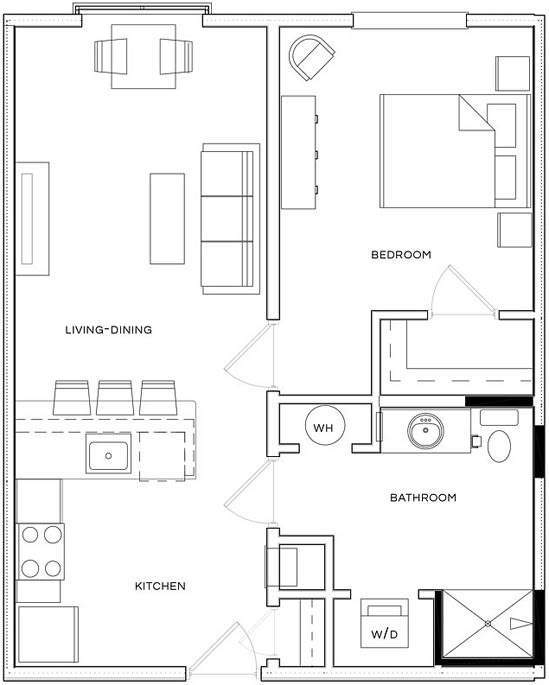 1 Bed/1 Bath A1 Floor Plan at The Royal Athena, Bala Cynwyd