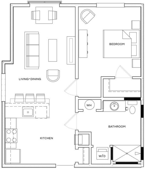 1 Bed/1 Bath A1 A Floor Plan at The Royal Athena, Bala Cynwyd, 19004