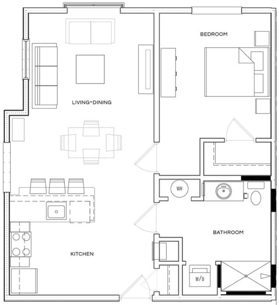 1 Bed/1 Bath A1 B Floor Plan at The Royal Athena, Bala Cynwyd, PA