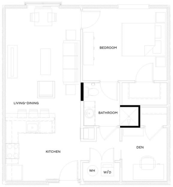1 Bed/1 Bath A2 Floor Plan at The Royal Athena, Pennsylvania, 19004