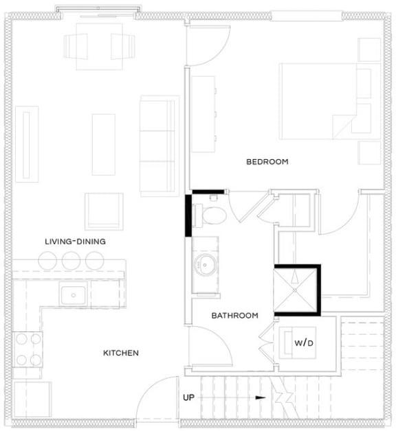 1 Bed/1 Bath Loft A2 Floor Plan at The Royal Athena, Bala Cynwyd