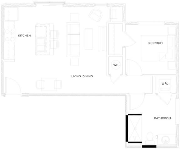 1 Bed/1 Bath A4 Floor Plan at The Royal Athena, Bala Cynwyd, Pennsylvania