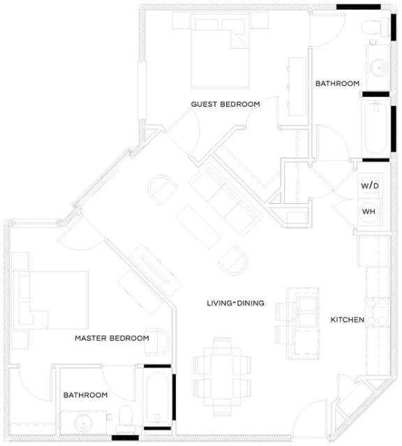 2 Bed/2 Bath B2 Floor Plan at The Royal Athena, Pennsylvania, 19004