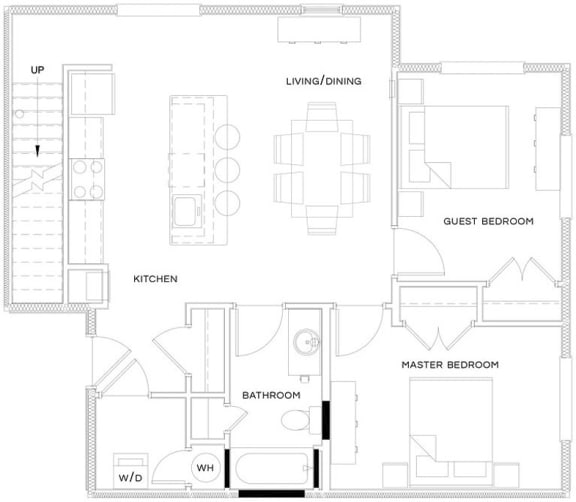 1 Bed/1 Bath Den Loft Floor Plan at The Royal Athena, Bala Cynwyd, PA