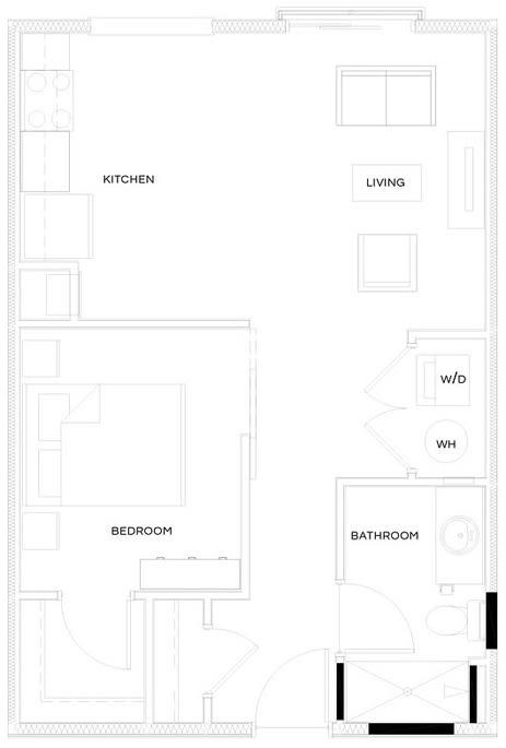 1 Bed/1 Bath S1 Floor Plan at The Royal Athena, Bala Cynwyd, PA, 19004