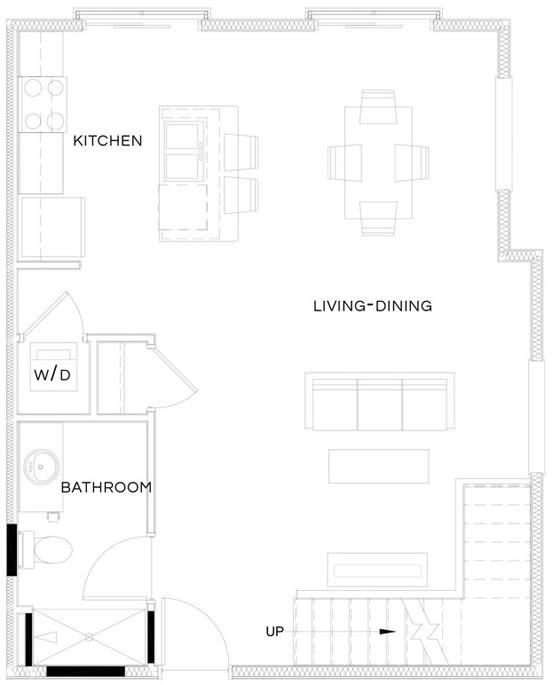1 Bed/1 Bath Loft S1 Floor Plan at The Royal Athena, Pennsylvania, 19004