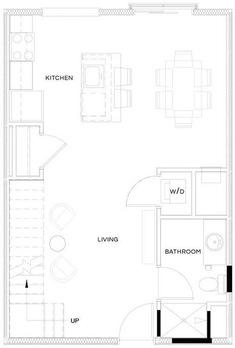 1 Bed/1 Bath Loft S1 L Floor Plan at The Royal Athena, Pennsylvania
