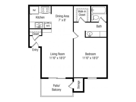 1 bedroom 1 bathroom floor plan at Papago Crossing Apartments in Phoenix, AZ