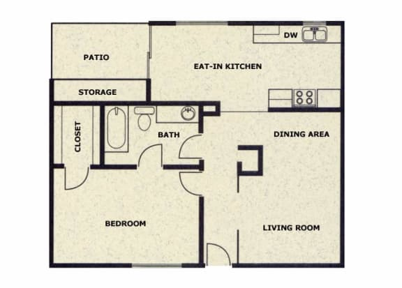 1 bedroom 1 bathroom floor plan at Wellington Estates in San Antonio, TX