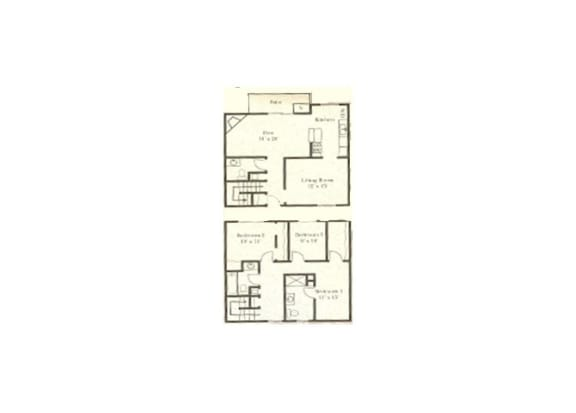 3 bedroom 2-a-half bathroom floor plan at Wellington Estates in San Antonio, TX